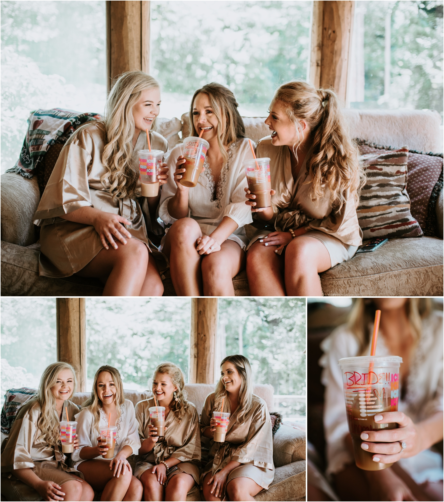 bride and bridemaids laughing drinking coffee dunkin donuts
