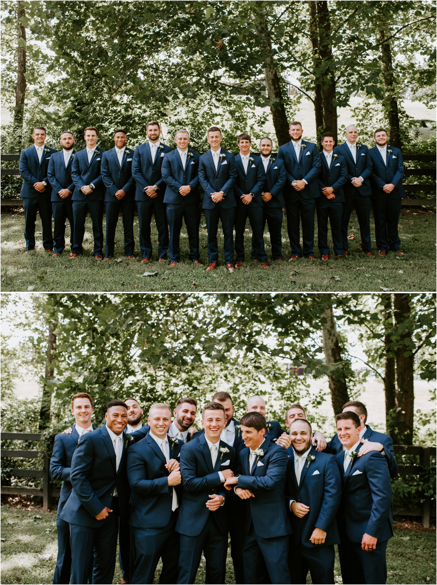 groom and groomsmen with navy suits