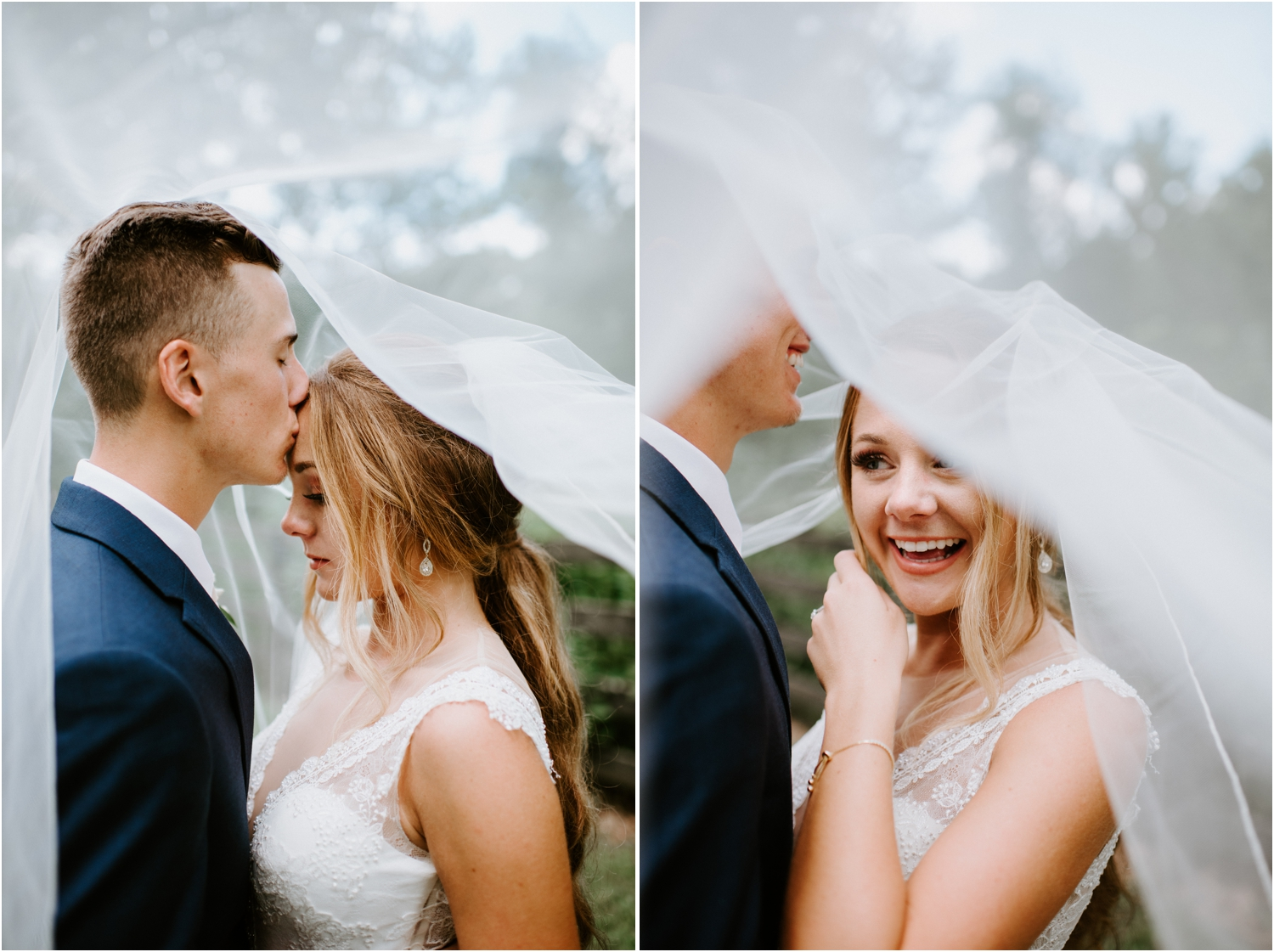 bride and groom under the veil picture