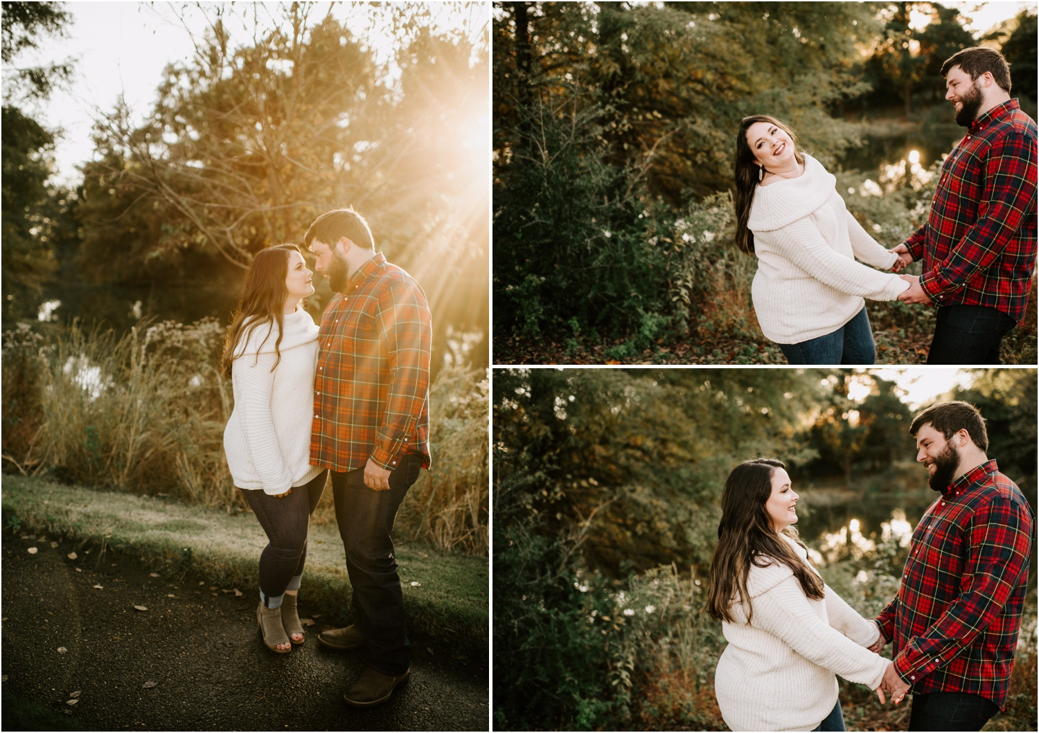 golden hour engagement girl and guy laughing in memphis tennessee shelby farms