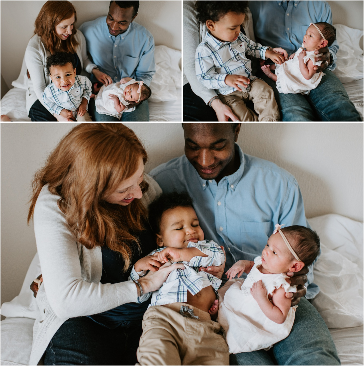 family laughing together on bed newborn session memphis