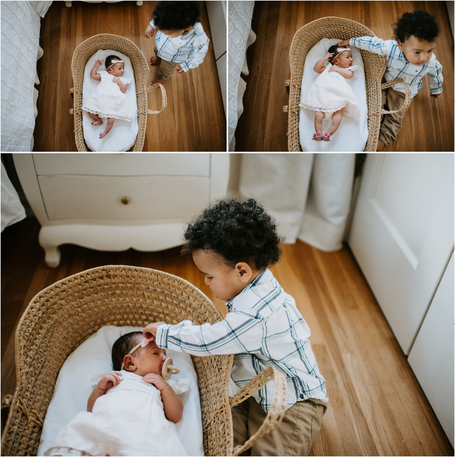 newborn and toddler baby in moses basket bassinet candid in home family memphis