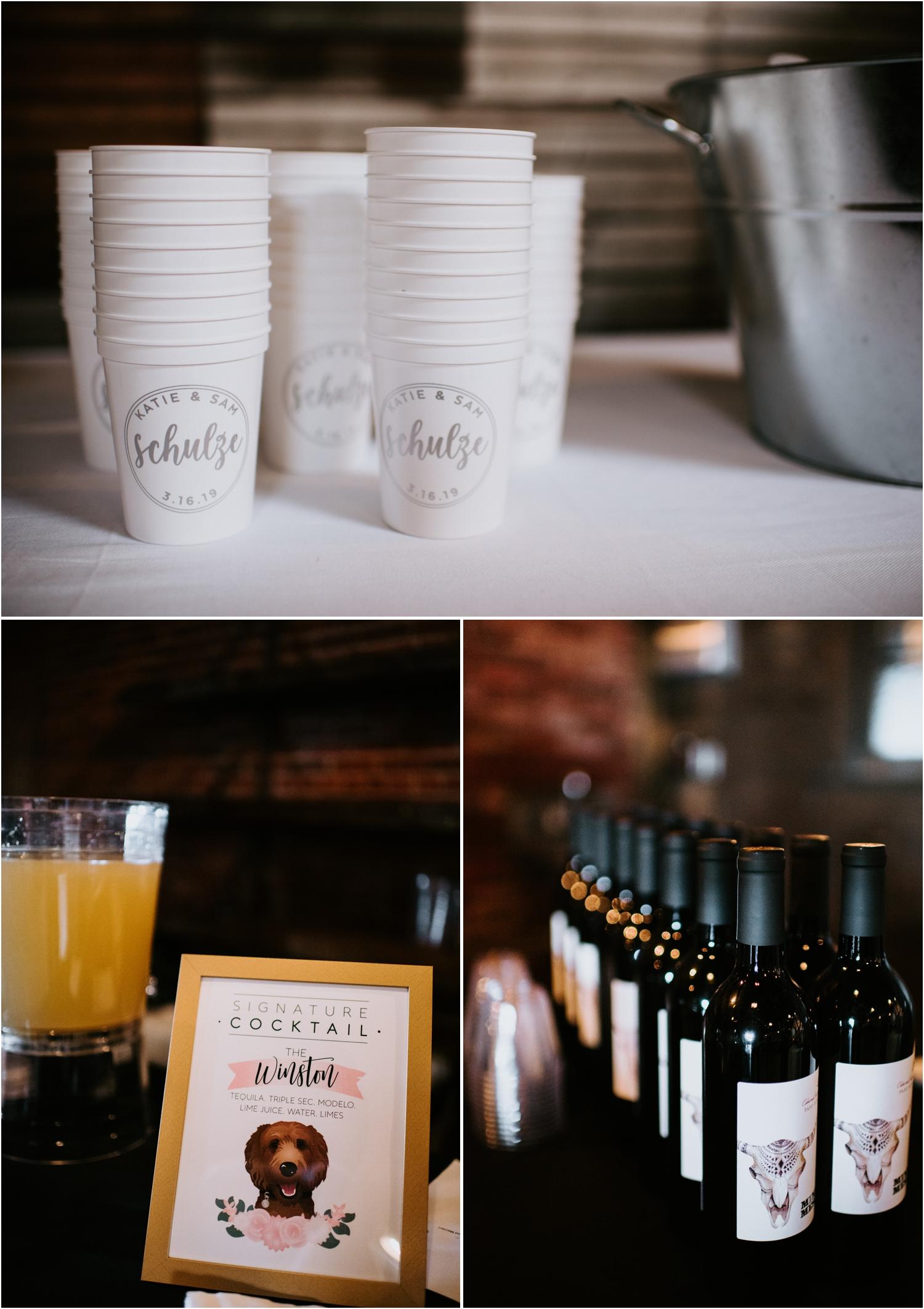 signature cocktail at wedding reception