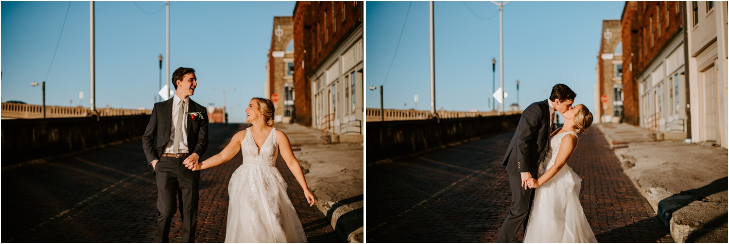 golden hour sunset bride and groom picture cobblestone road