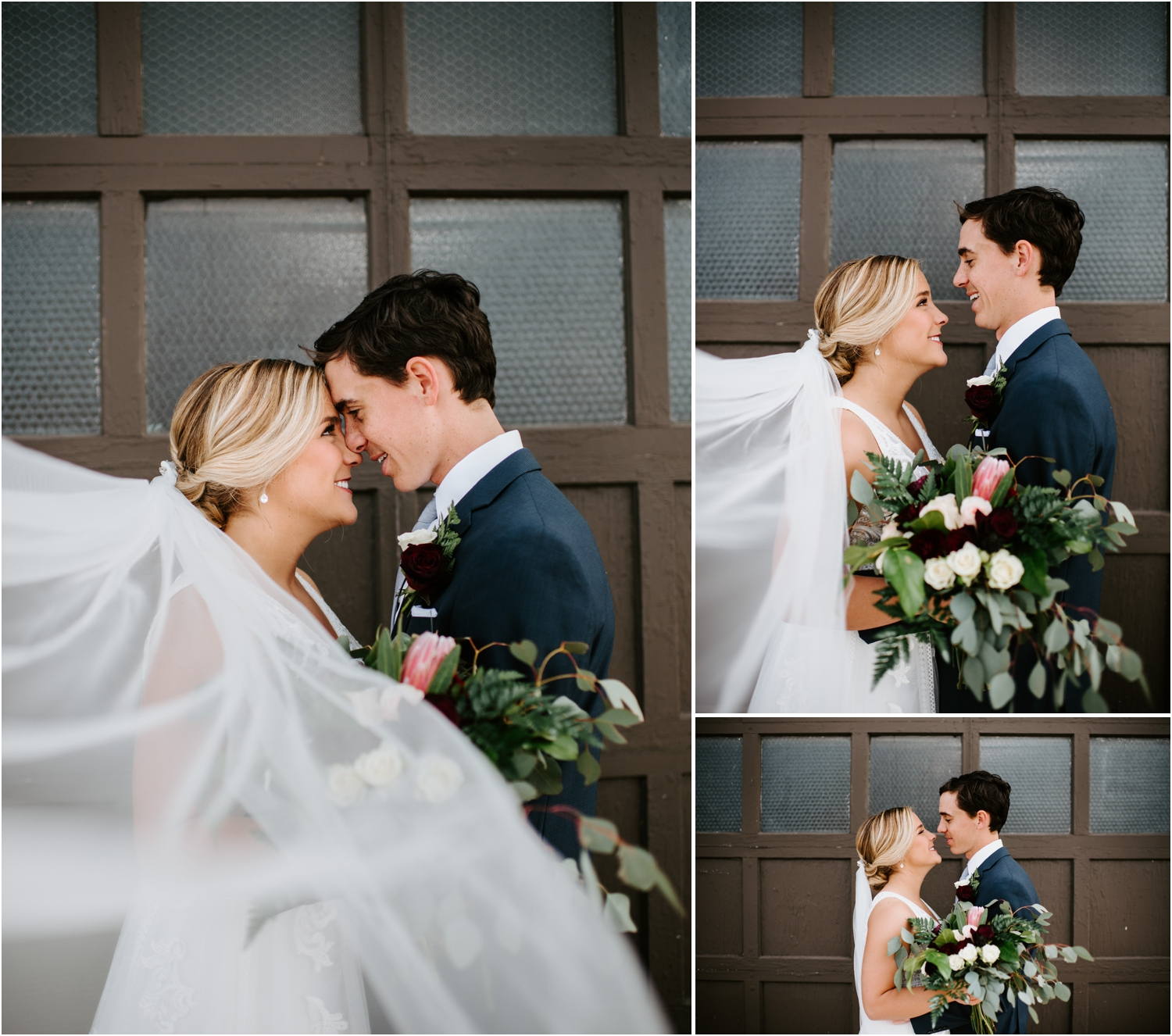 bride and groom picture under veil