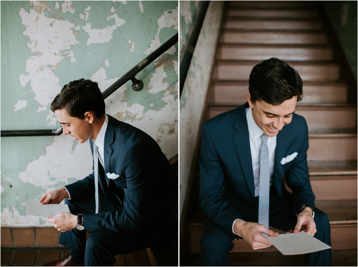 groom reading a letter before wedding