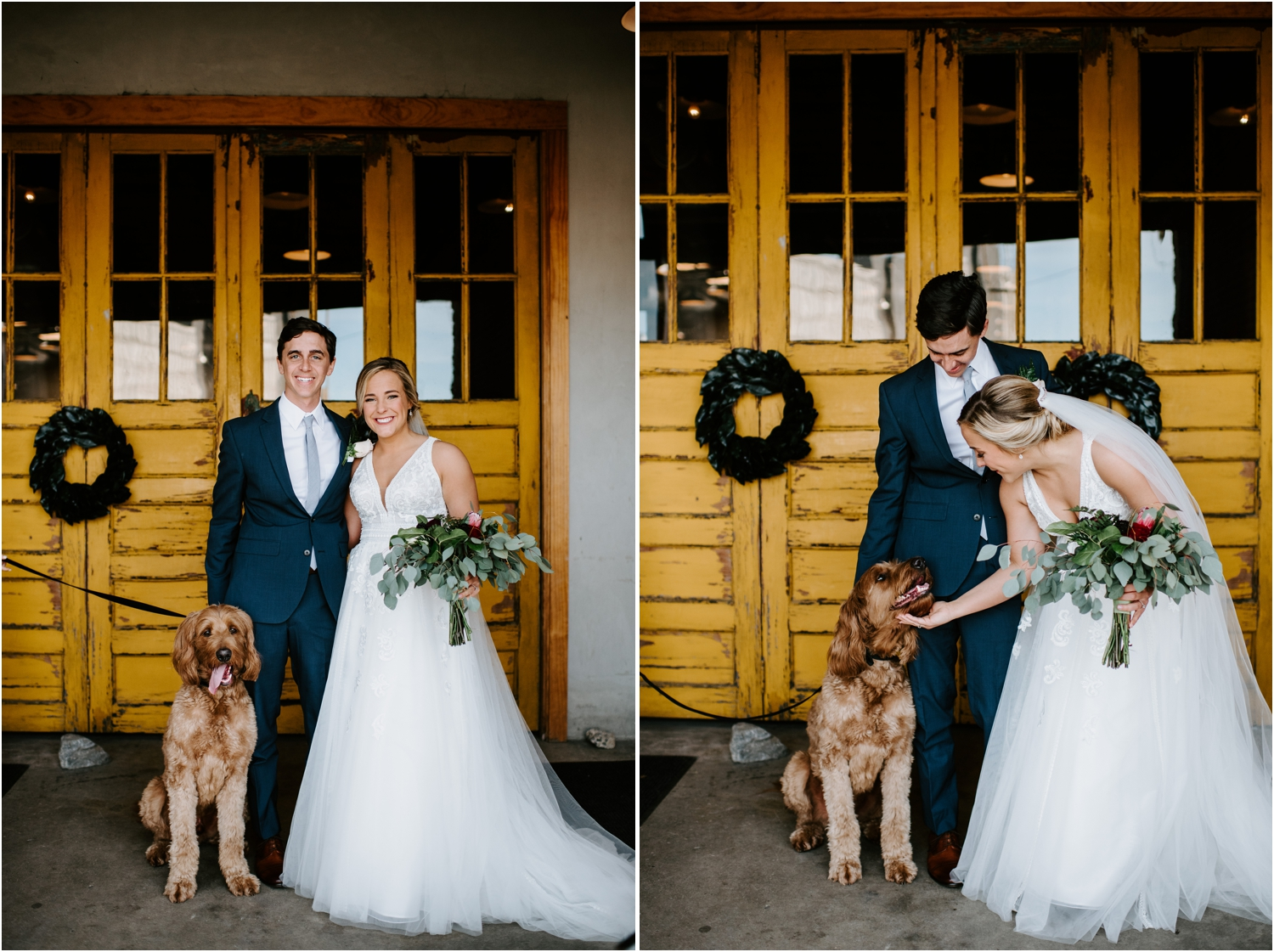 golden doodle with bride and groom at wedding