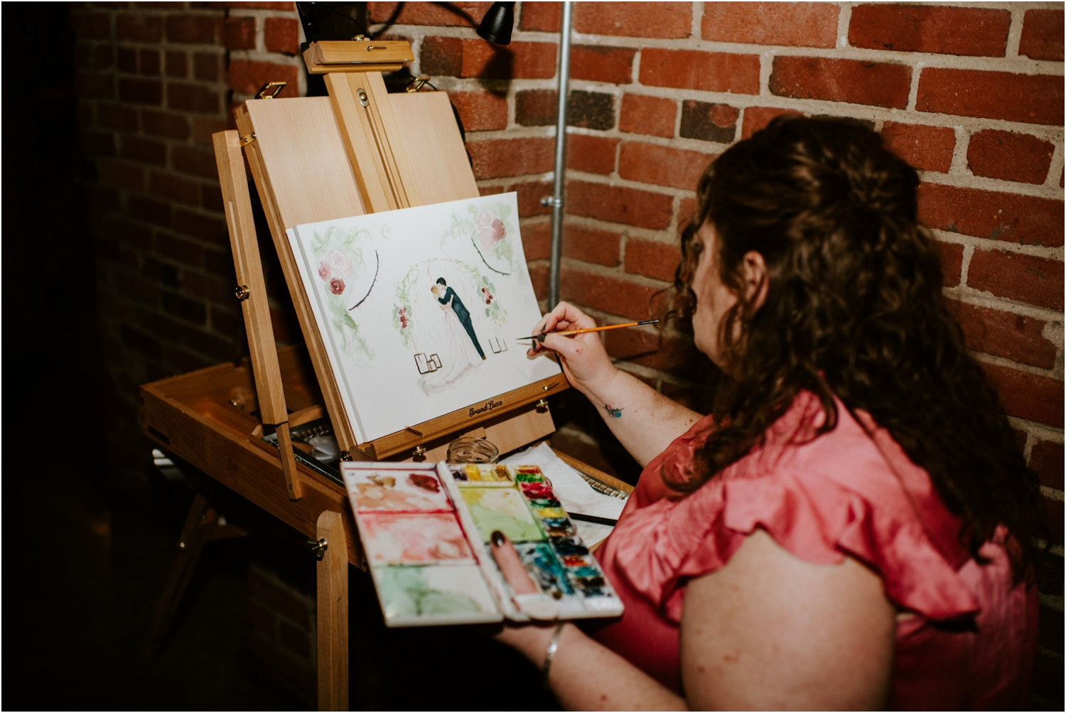 live action watercolor at wedding