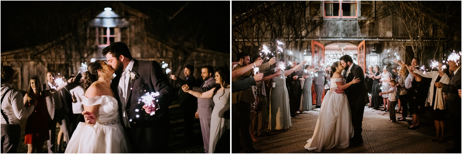 sparkler exit at reception memphis tennessee wedding heartwood hall venue
