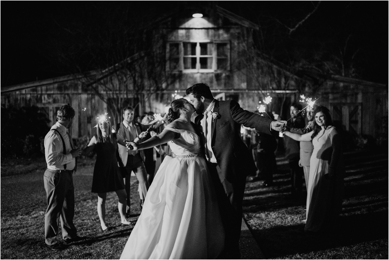 sparkler exit at reception memphis tennessee wedding heartwood hall venue black and white
