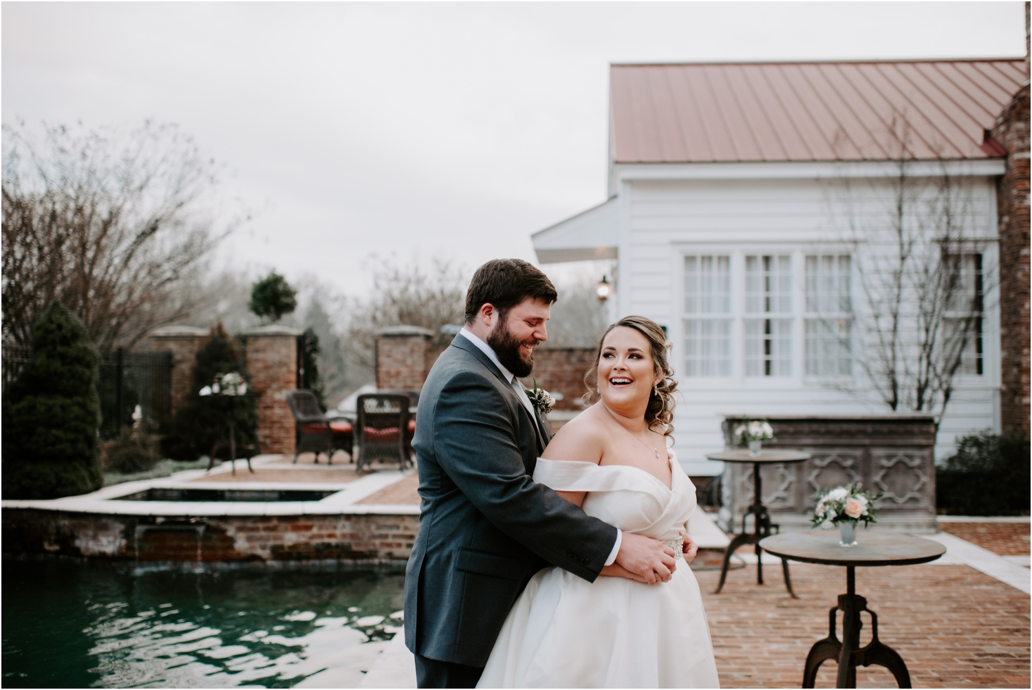 Heartwood Hall Memphis Tennessee Wedding Bride and Groom Portrait Laughing
