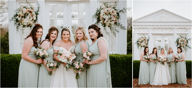 Mint Green Bridesmaids Dresses Neutral Florals Heartwood Hall Wedding Memphis