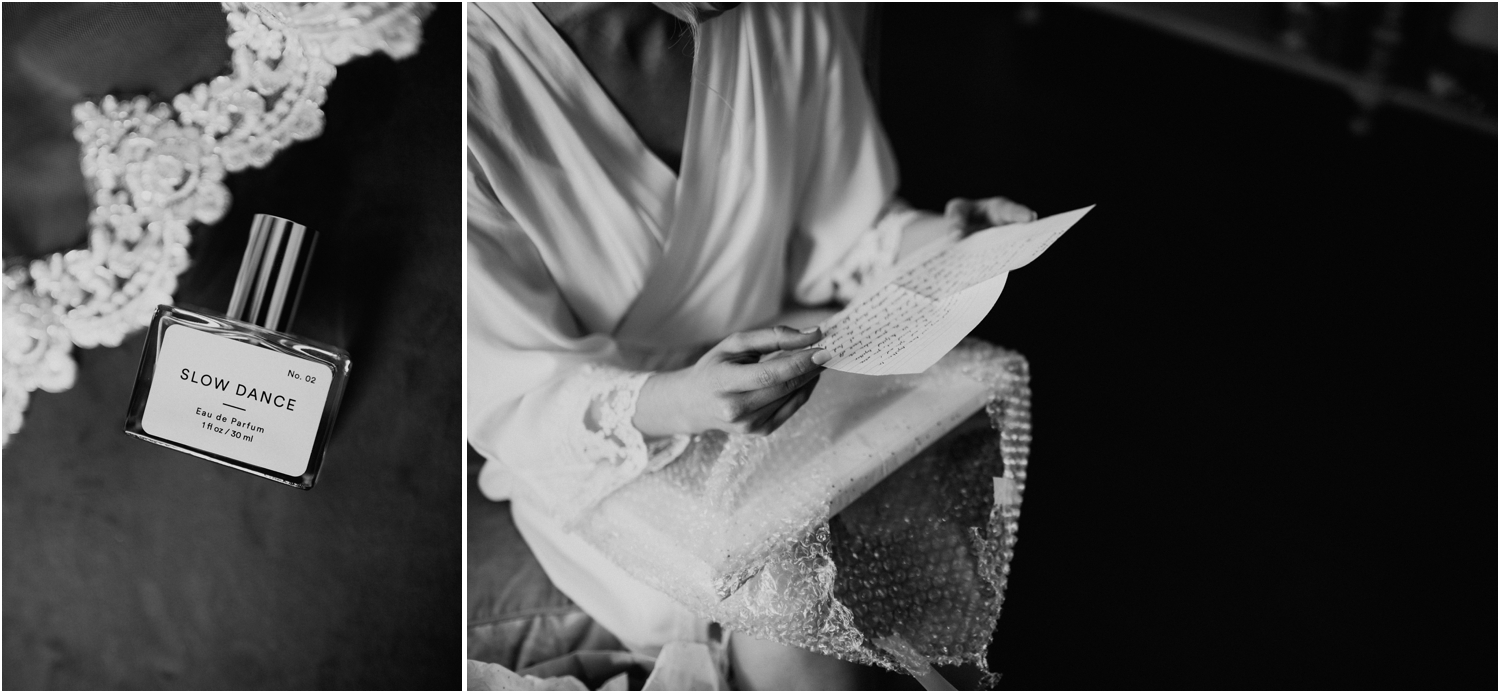 black and white bride reading letter from groom