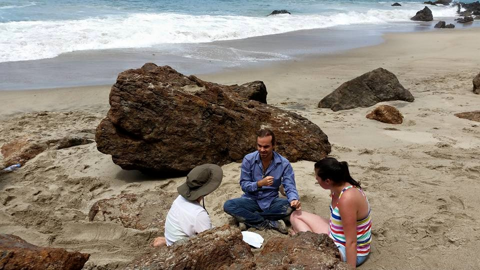 Lucas rehearsing with Arden Kelly and Paulina Güitrón at Point Dume, CA