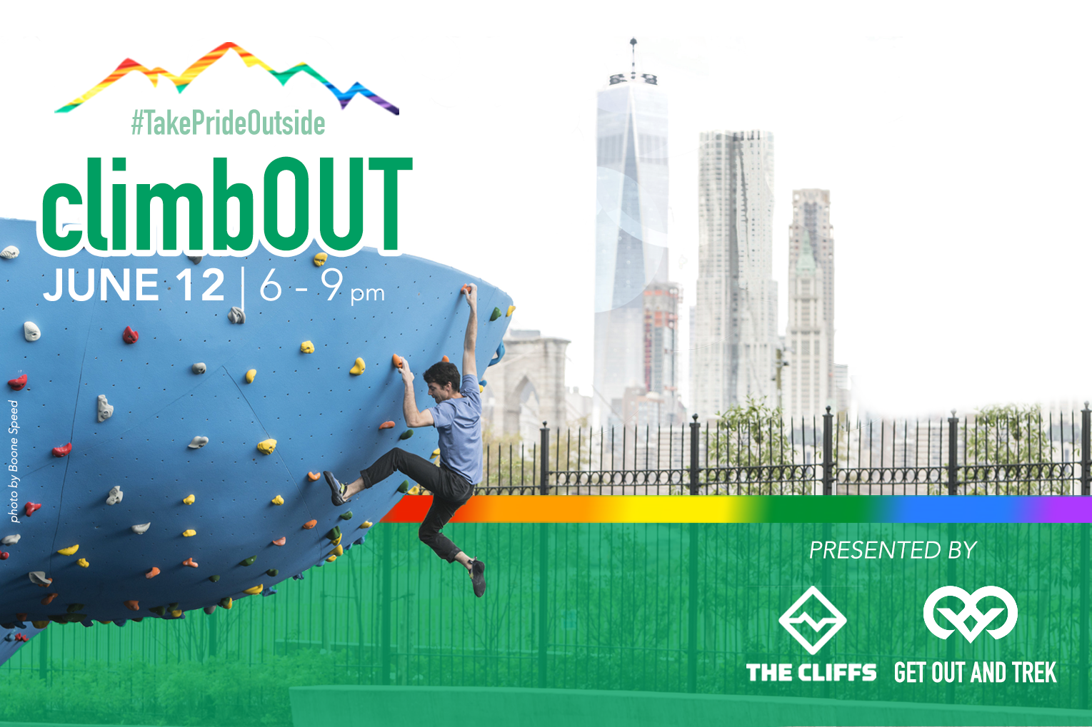 Jun 12climbOUT - Celebrate pride and learn to climb with views of the city skyline in DuMBO. All skills welcome.