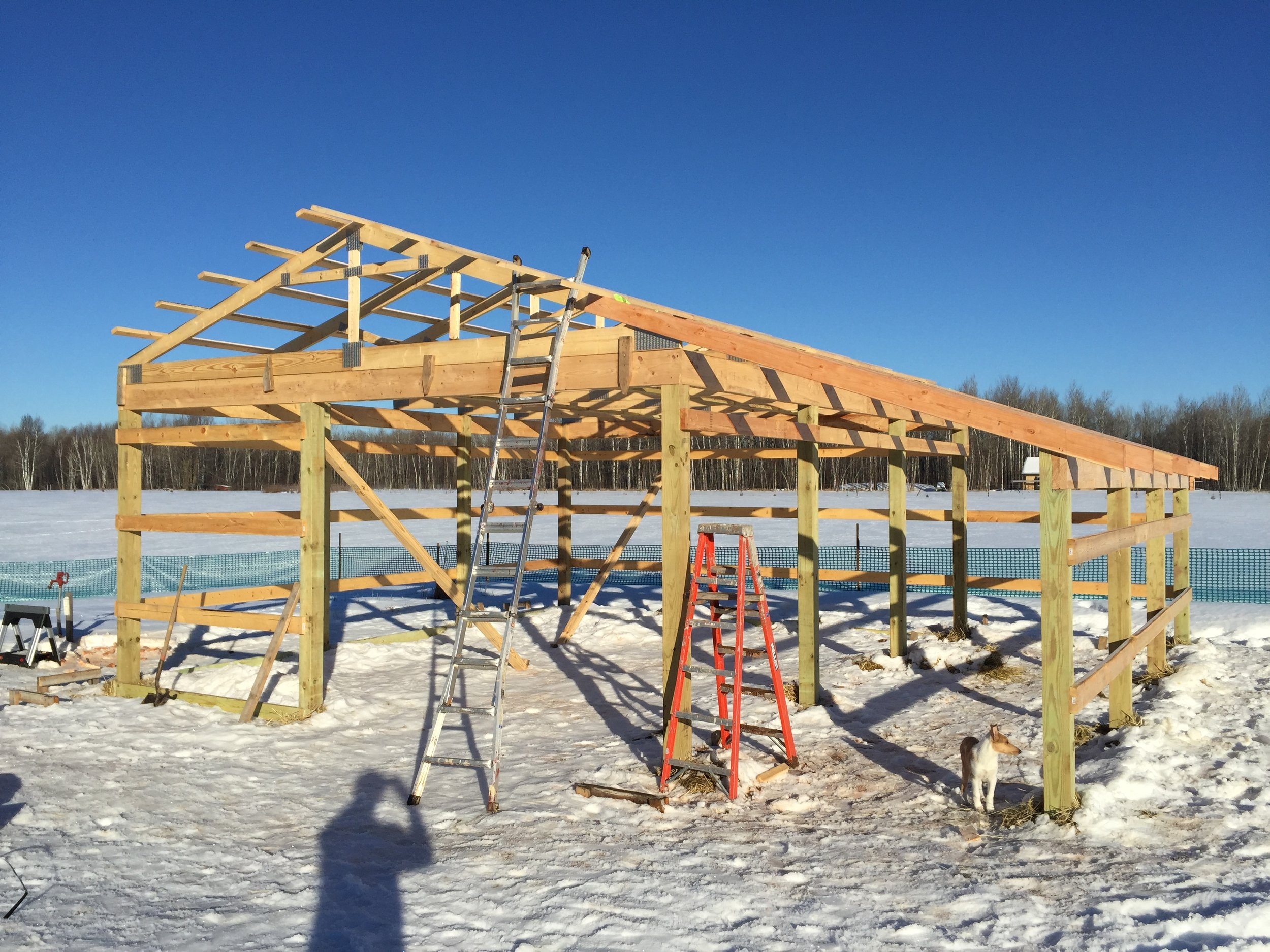 Building the machine shed in the winter of 2016