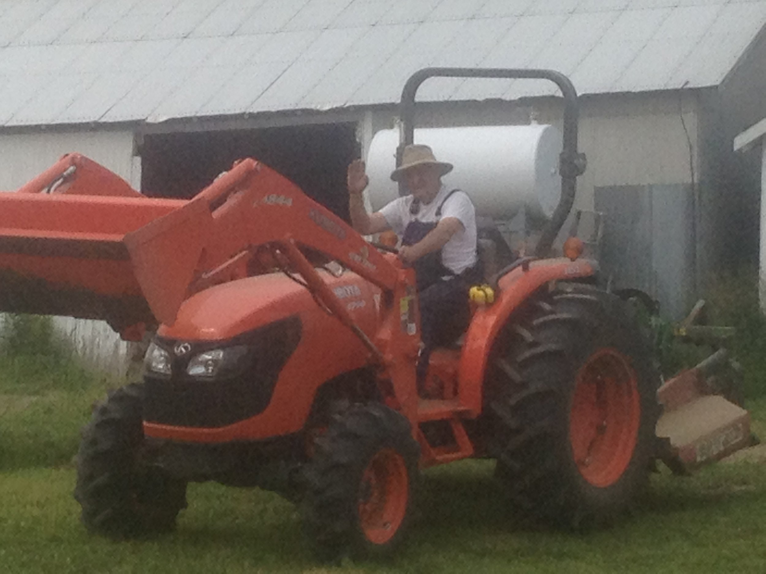 Gramps on the tractor