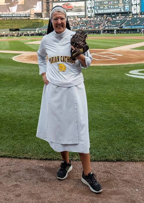 Sister  Mary Jo at Guaranteed Rate Field; (Melissa Ferrara, Iron + Honey Photography)