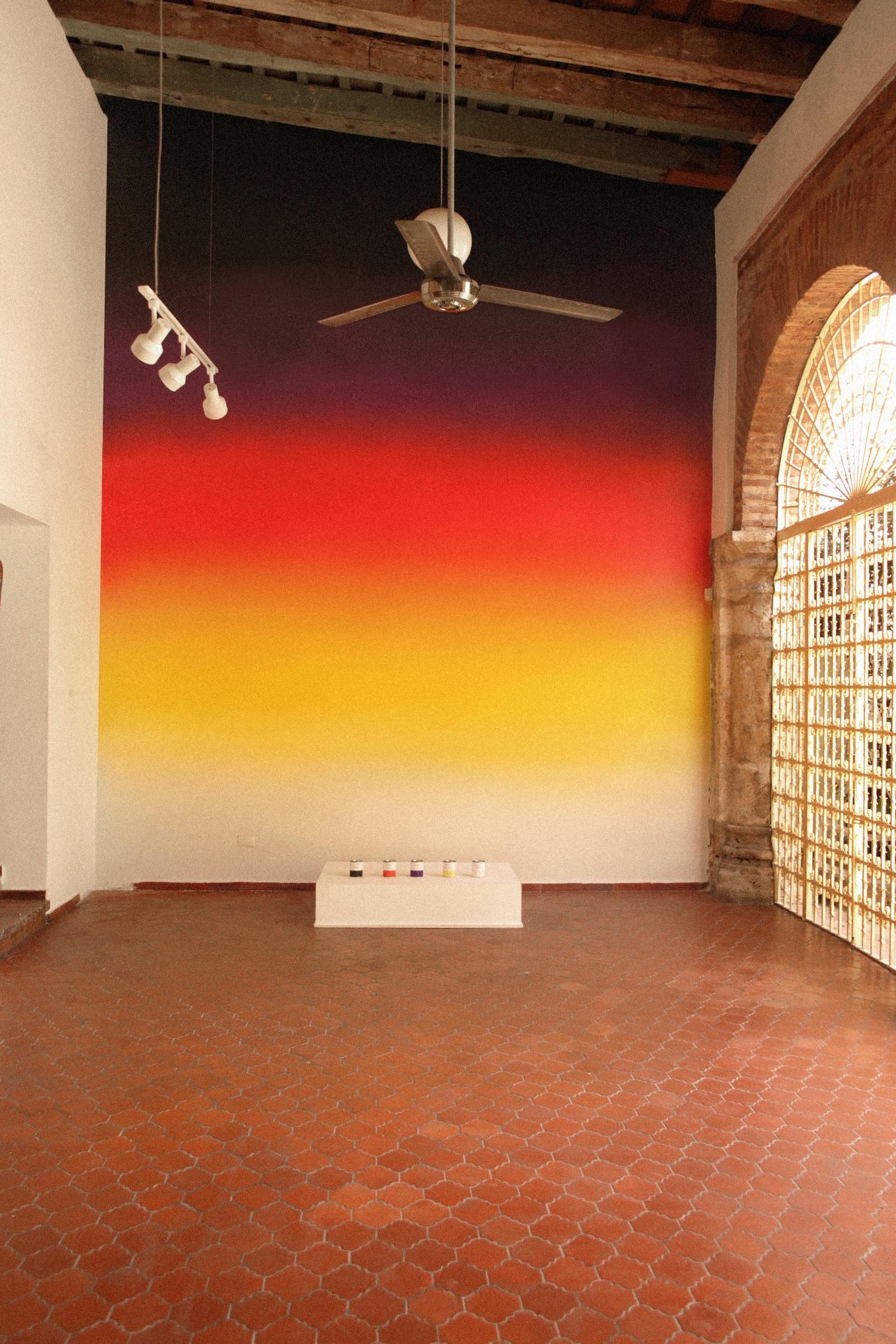 """Installation view of """"Panorama""""and """"Panorama aplicado a pared"""" in """"TRIGGERED"""" at Casa Quién Gallery, Santo Domingo. (Courtesy Casa Quién, Santo Domingo. Photo by Karla Read.)"""