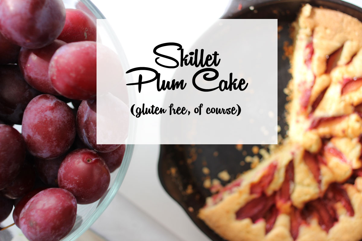 The tart plums give this gluten free plum cake recipe a balanced flavor. It looks impressive but is easy to make in a cast iron skillet.