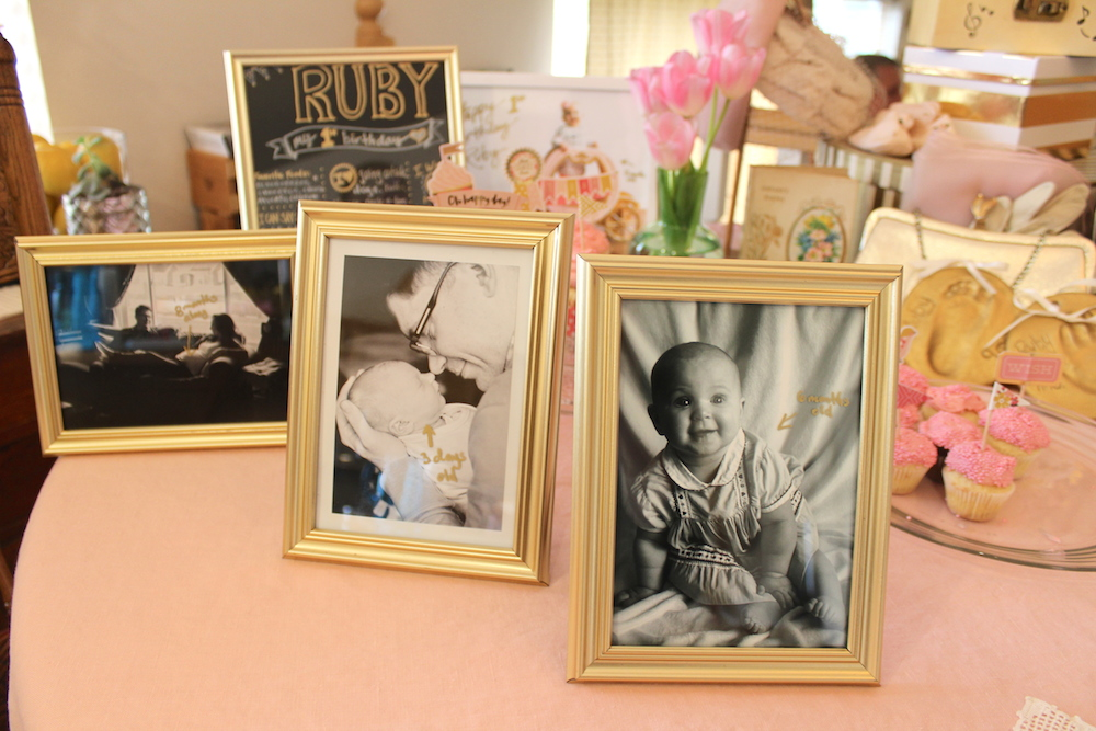 "This is a fun table decor idea I came up with: I just printed out a few favorite 1st year milestone baby photos and used a gold sharpie on the glass of these gold picture frames to call out dates (i.e. ""3 days old""). The maternity photo and newborn photo are courtesy of  Stephanie Jo Photography . Now I have them on my desk at work."