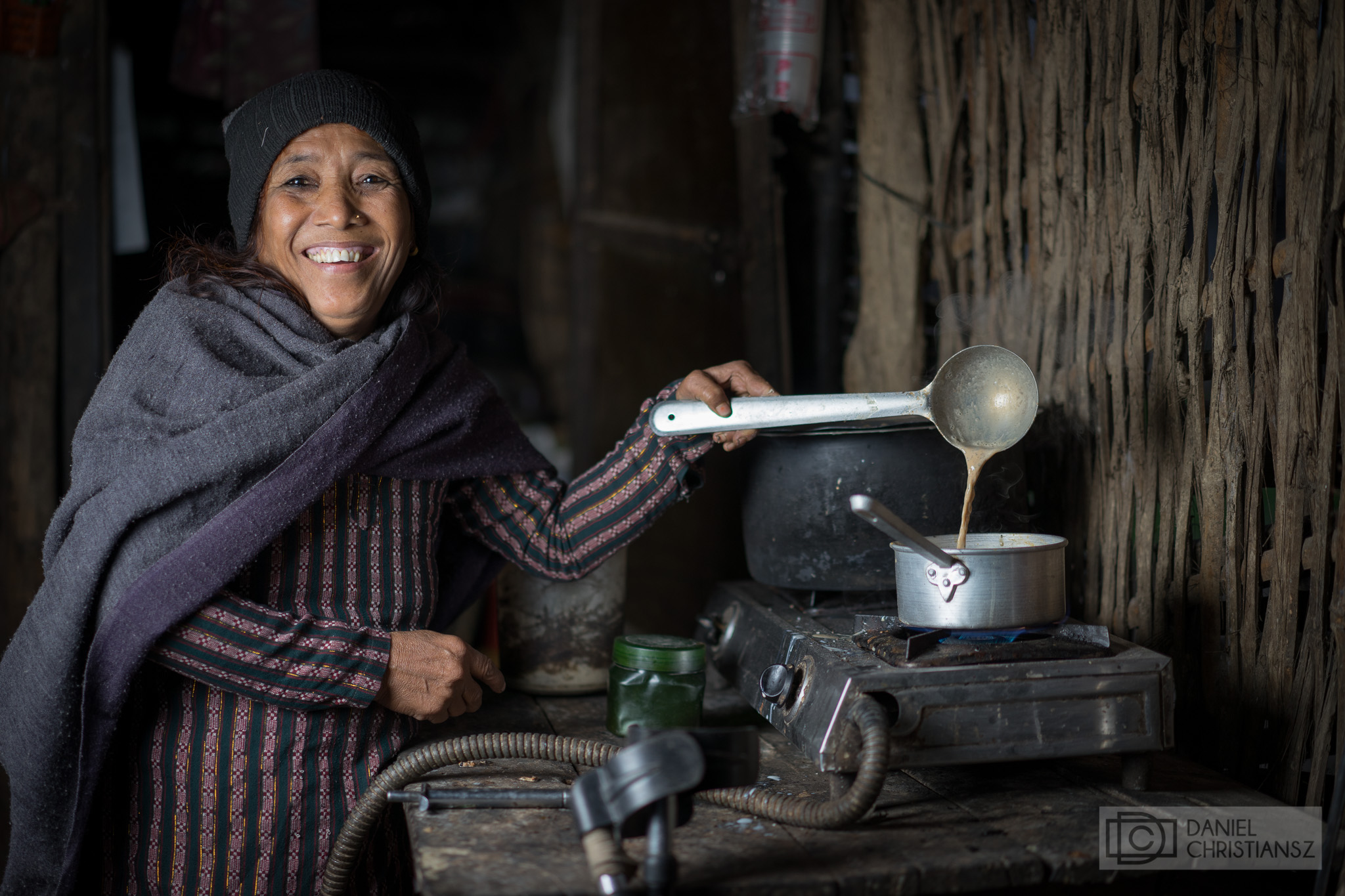 Chai Tea made by Woman in Nepal