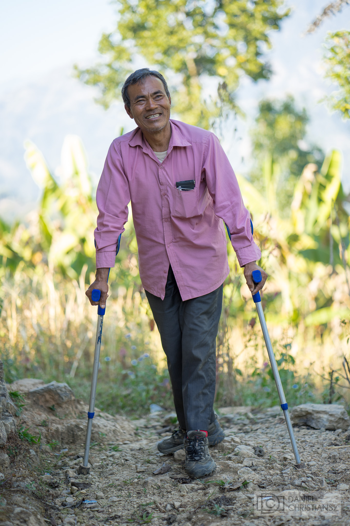 Nepal Man Disability Business Crutches