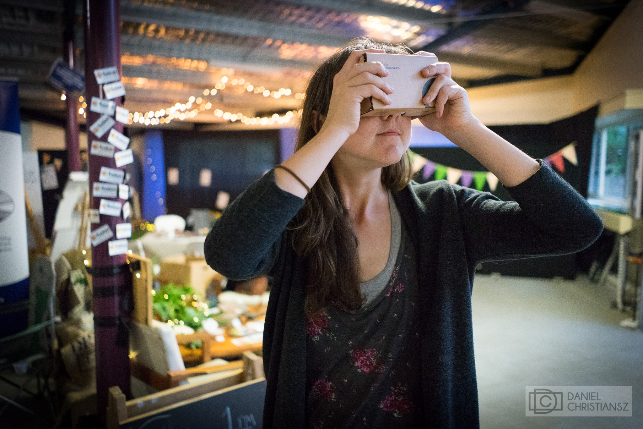 Woman with Google Cardboard Virtual Reality Headset in Melbourne
