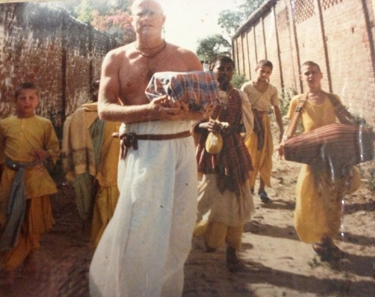 My Uncle Kesava carrying his father's ashes to the Yamuna River. India 1986