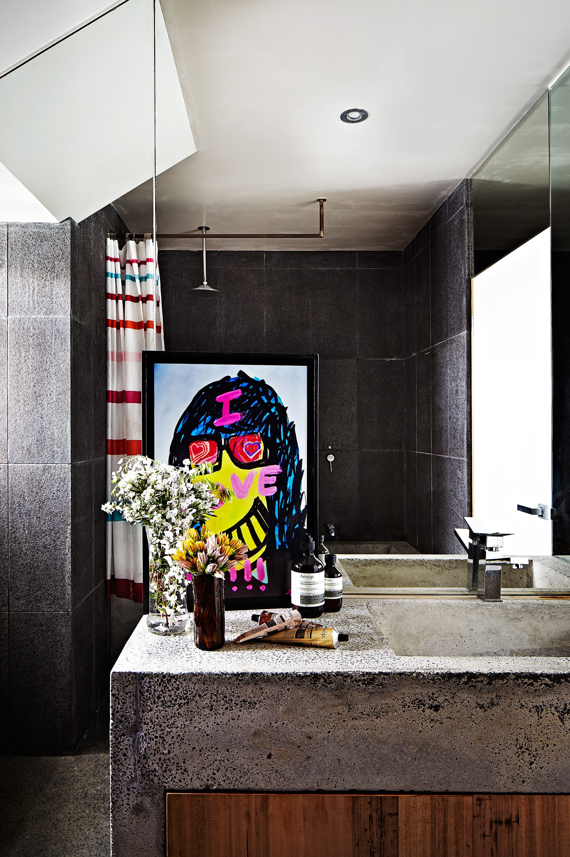 Try concrete in your bathroom for that raw industrial feel.