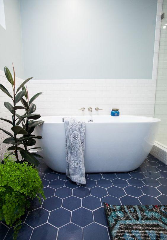 Hexagonal tiles make this bathroom look modern, sleek and looks so good.