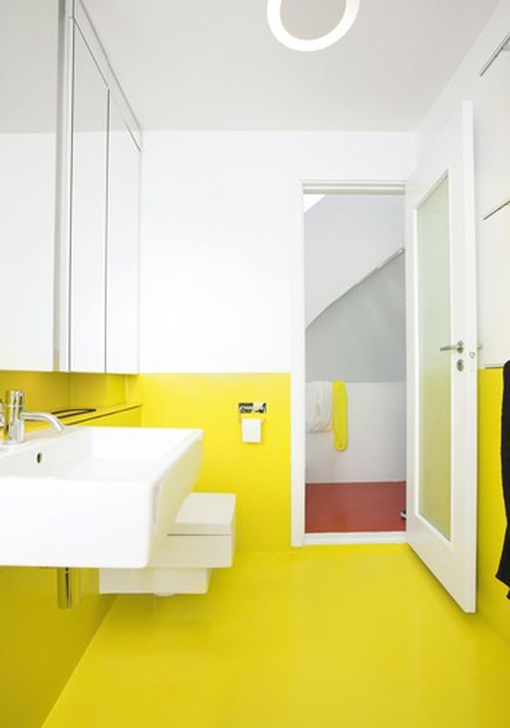 Painting the floor the same colour as the walls creating the illusion of more spacious and look so modern..