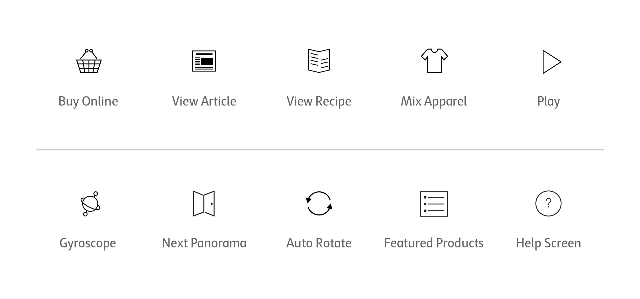 Top: Icons to accompany the product popovers were created to as click throughs to interact with more content. Bottom: Menu bar icons were designed to help the user control the panorama experience.