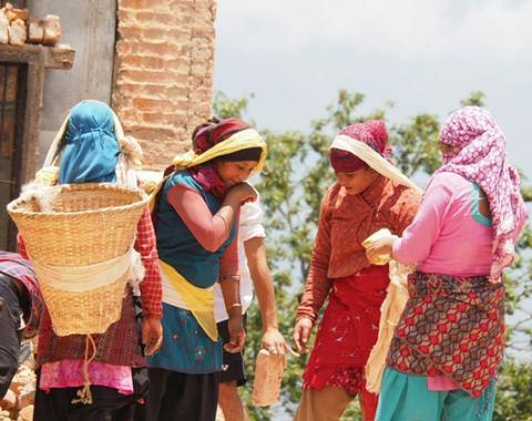Nepali women near the Monkey Temple, Photo by Yvonne Brand