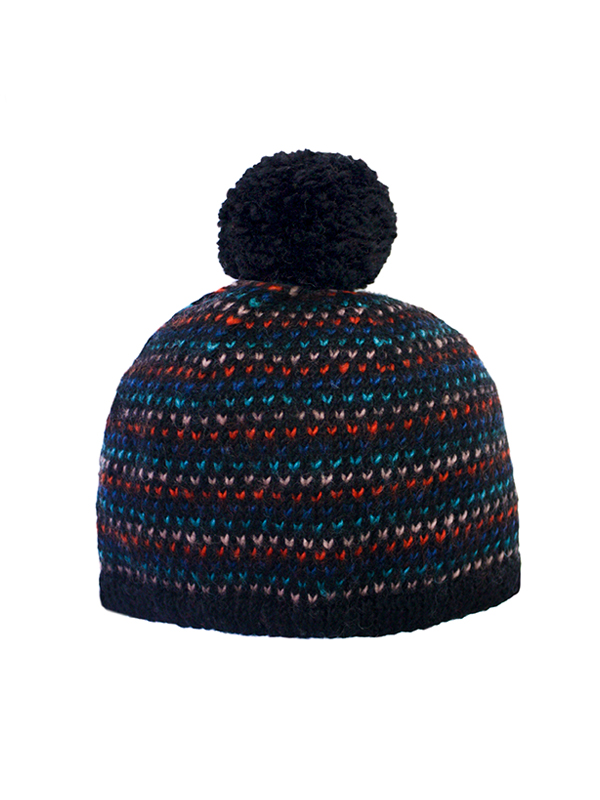 Here Today Here Tomorrow. Colourful Dots Bobble Hat. Autumn Winter 2016. Handmade and Fair Trade. Photo by Agnes Lloyd-Platt.