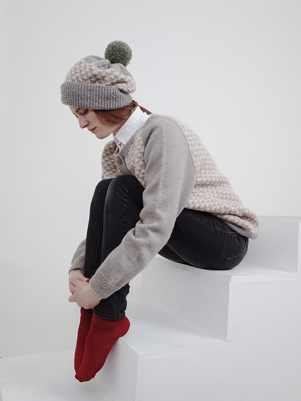 Here Today Here Tomorrow. Grey Triangles Hat and Cardigan. Autumn Winter 2016. Handmade and Fair Trade. Photo by Agnes Lloyd-Platt.