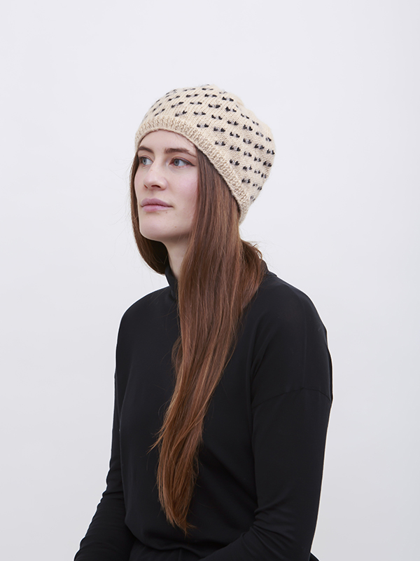 Here Today Here Tomorrow. Cream & Dots Beanie Hat Autumn Winter 2016. Handmade and Fair Trade. Photo by Agnes Lloyd-Platt.