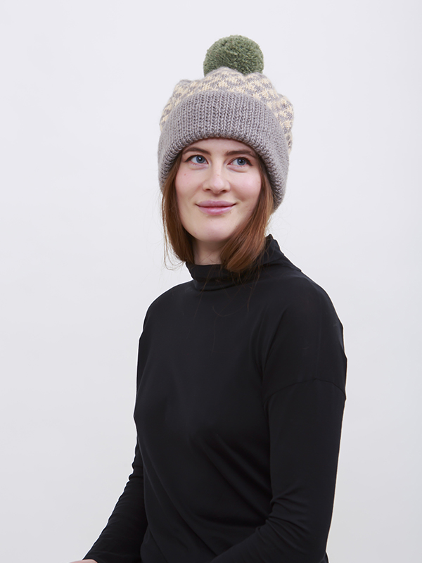 Here Today Here Tomorrow. Grey Triangles Slouchy Hat. Autumn Winter 2016. Handmade and Fair Trade. Photo by Agnes Lloyd-Platt
