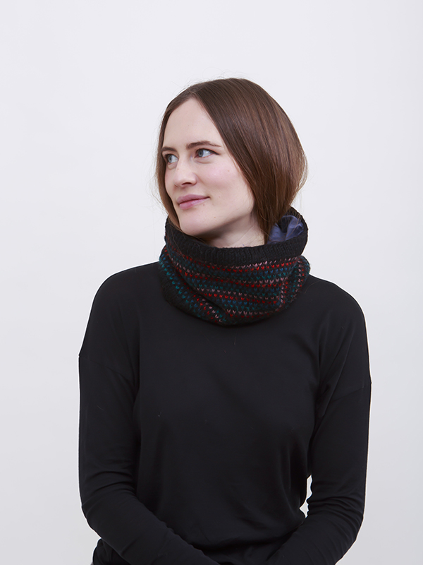 Here Today Here Tomorrow. Colourful Dots Snood. Autumn Winter 2016. Handmade and Fair Trade. Photo by Agnes Lloyd-Platt.
