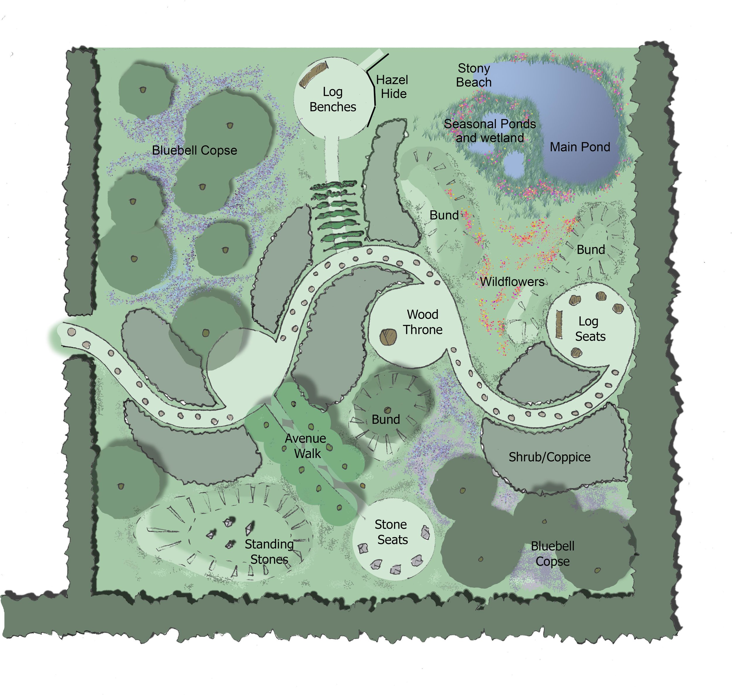 Above is our design for the 'Reflective Garden' which we hope to start work on very soon.