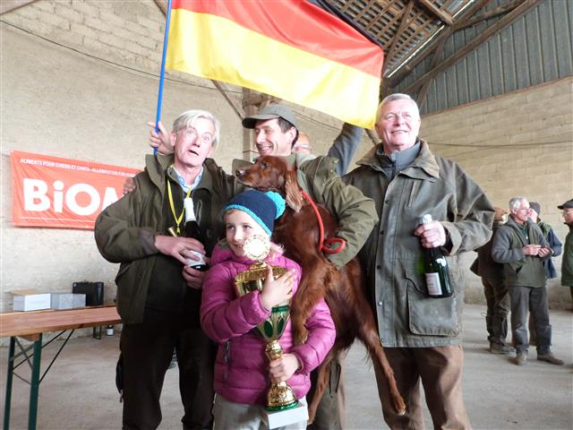 Mr. Gimbel from Germany with the winner of The European Championship 2016 - ECSTASY du Gourg d'Enfer