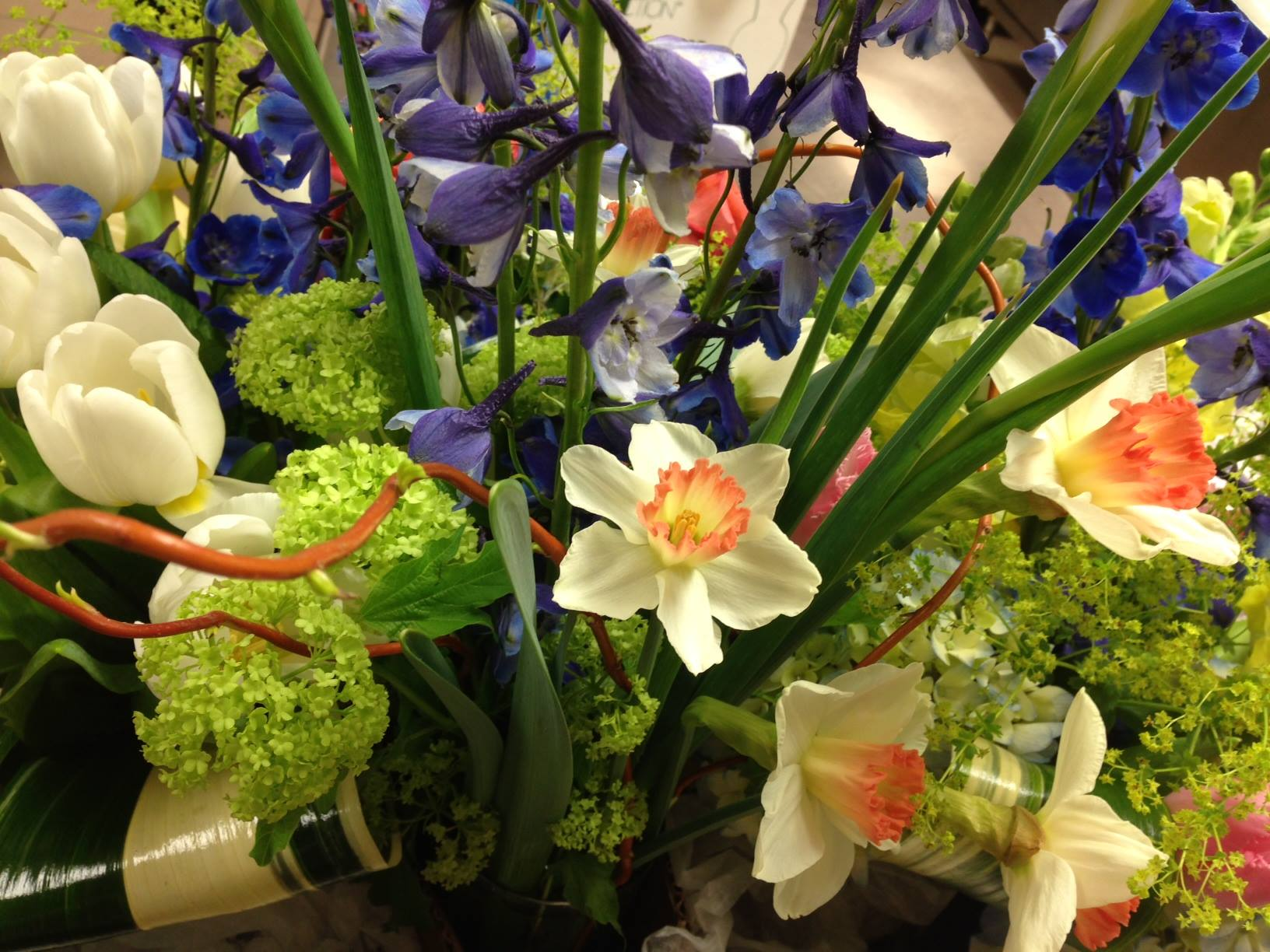 A beautiful mix of Irises, Tulips, and Daffodils