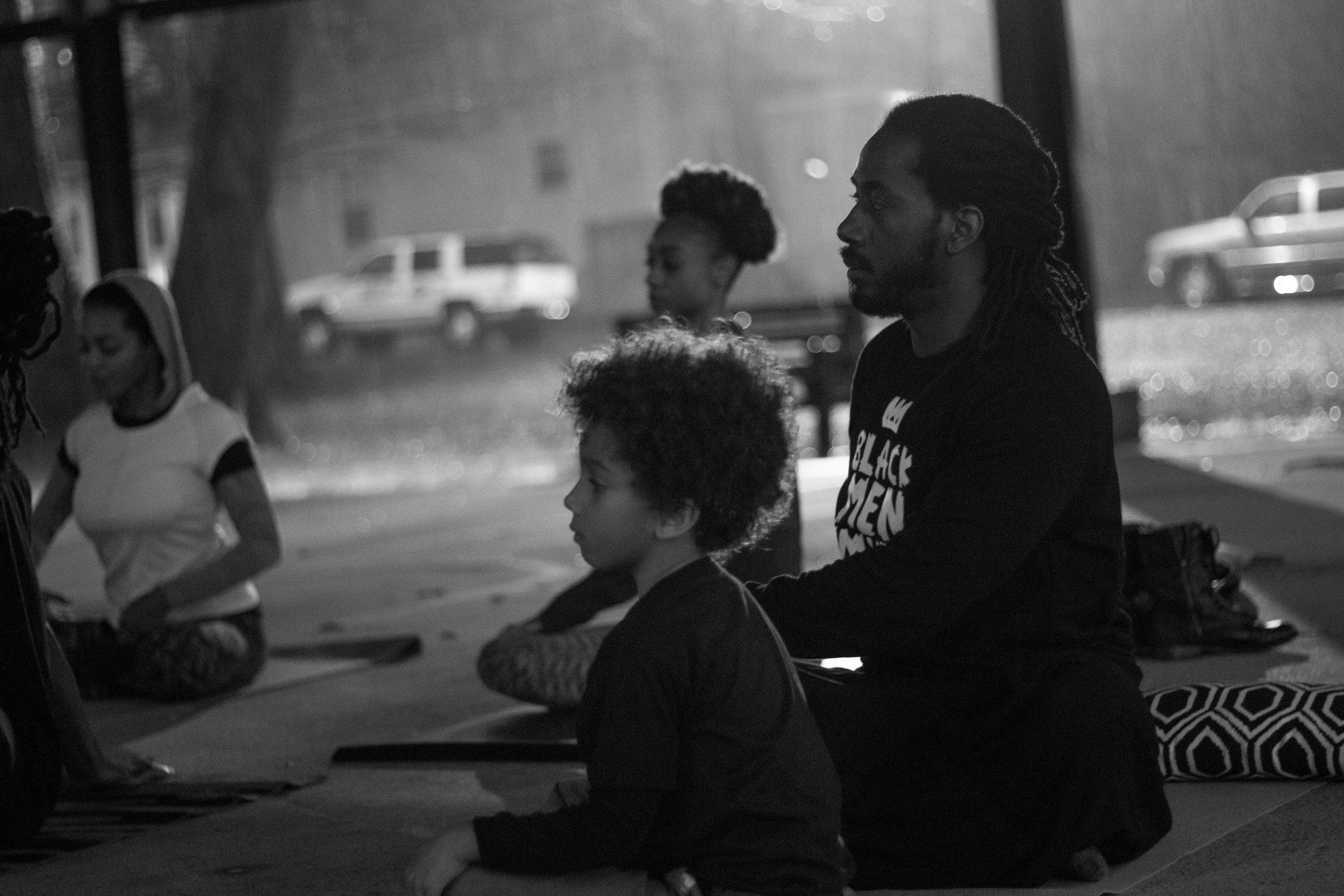 Carlton Mackey and son Isaiah in West End Park, Atlanta, GA