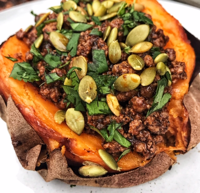 Grass-fed Beef Enchilada Stuffed Sweet Potato