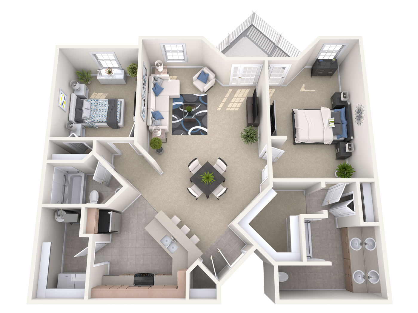 The Dilworth- two bedroom apartment at the manor