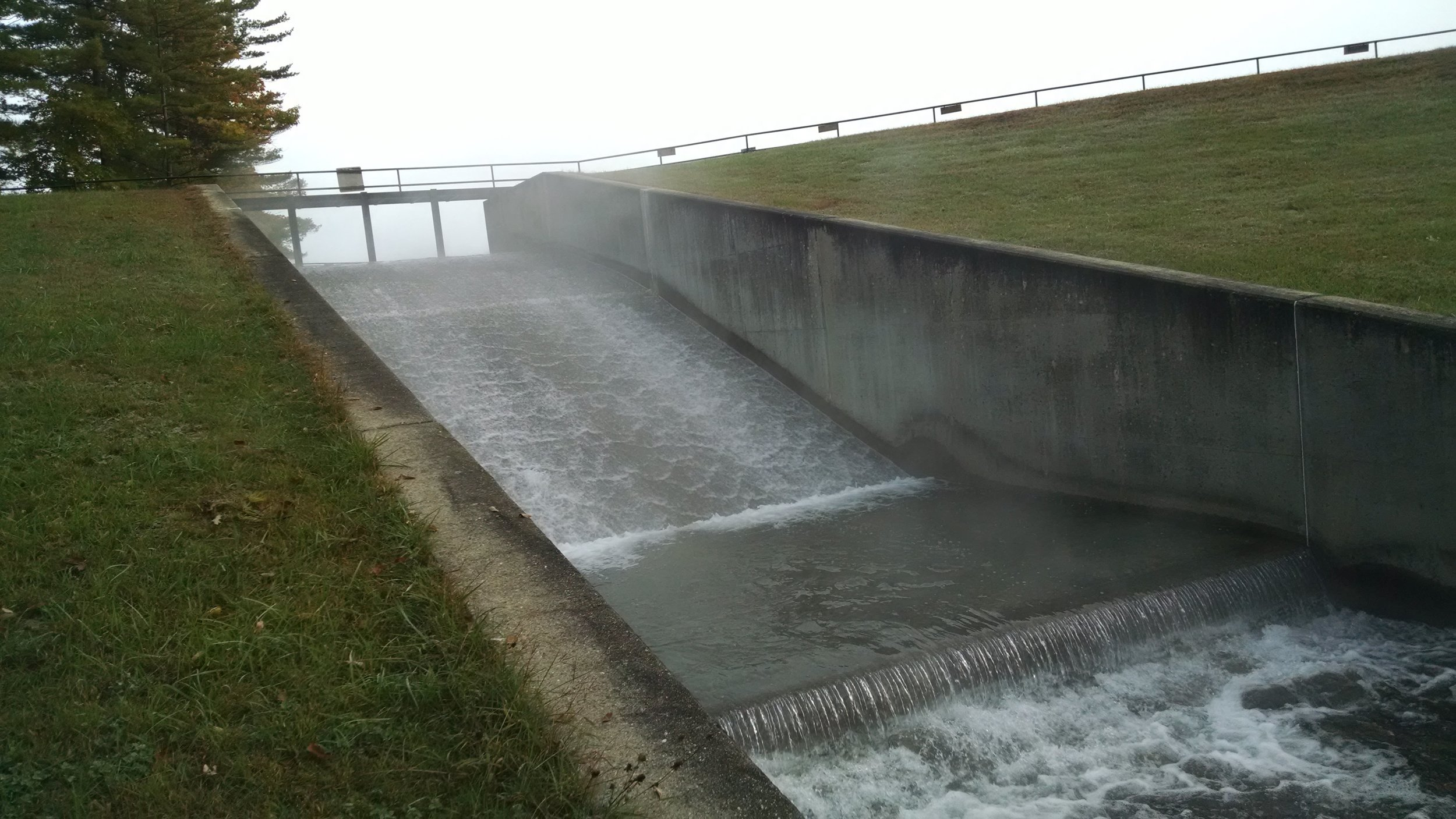The Merrymeeting Lake dam...opened up and letting water out.