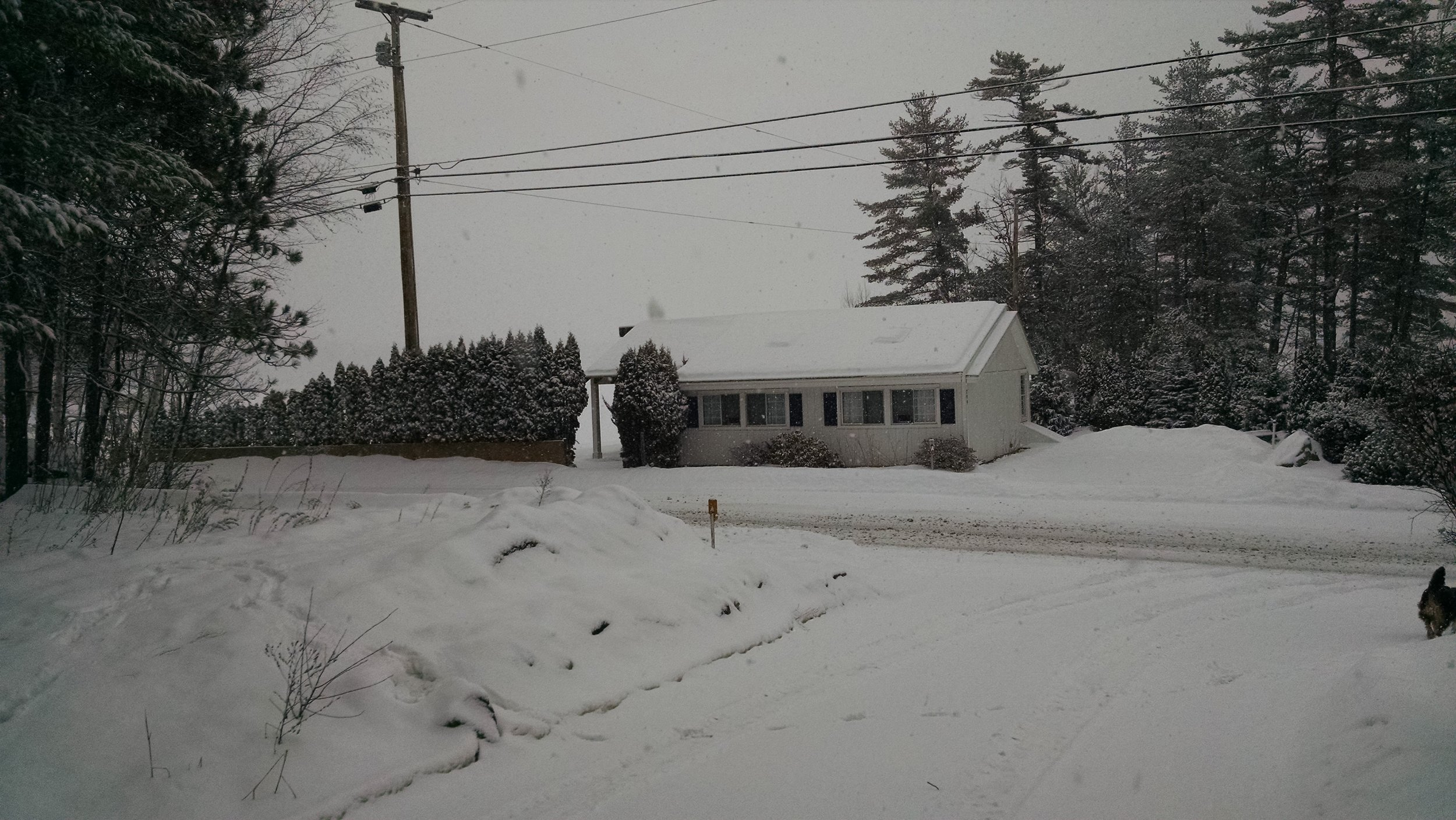 The clubhouse during a snowstorm.