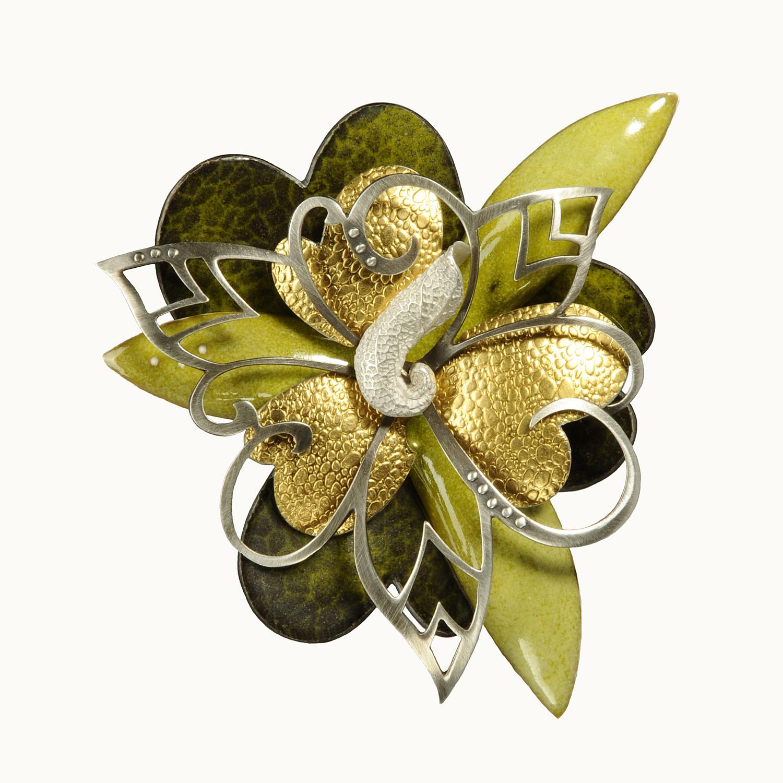 Rosette 1-17E     2017     fine silver, sterling silver 24k gold, enamel     3 x 3 x .5 inches