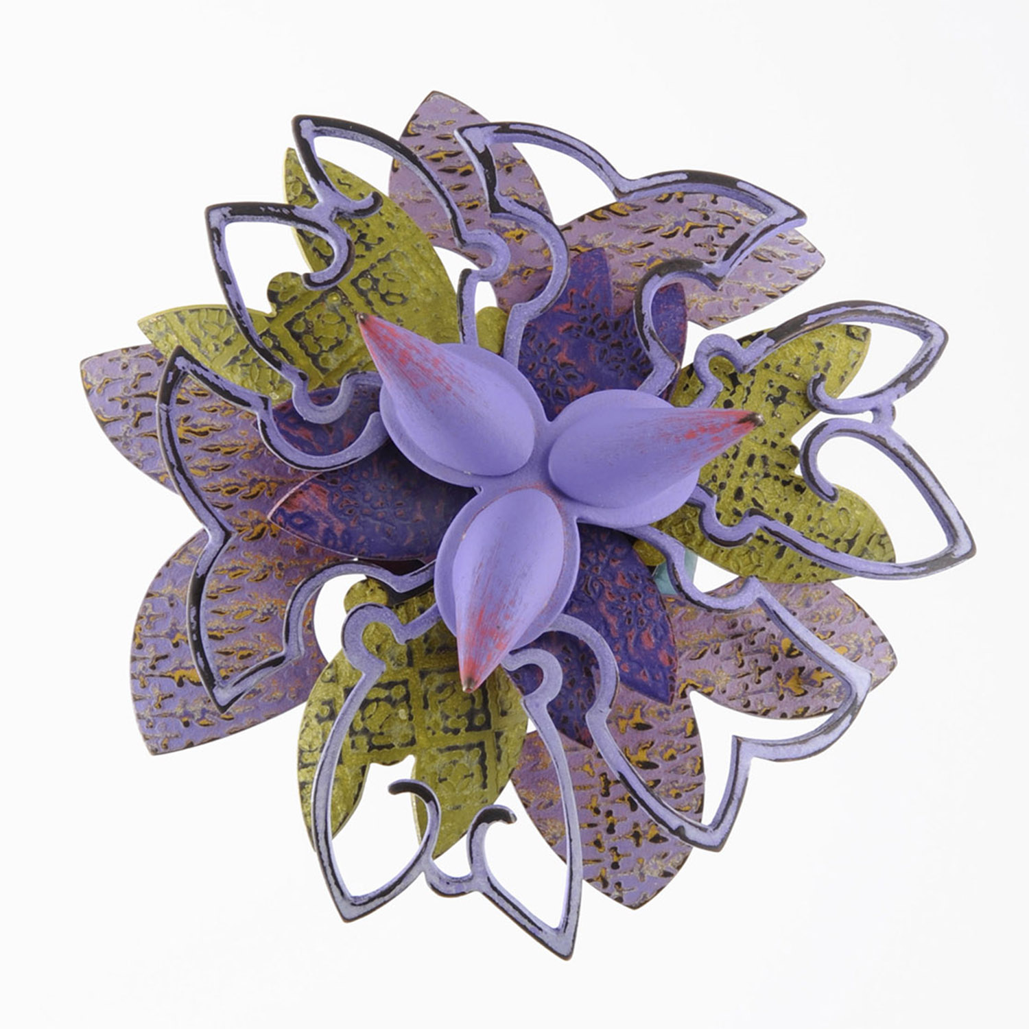 Rosette Brooch 20-15     2015     bronze, acrylic lacquer     4 x 4 x 1.25 inches