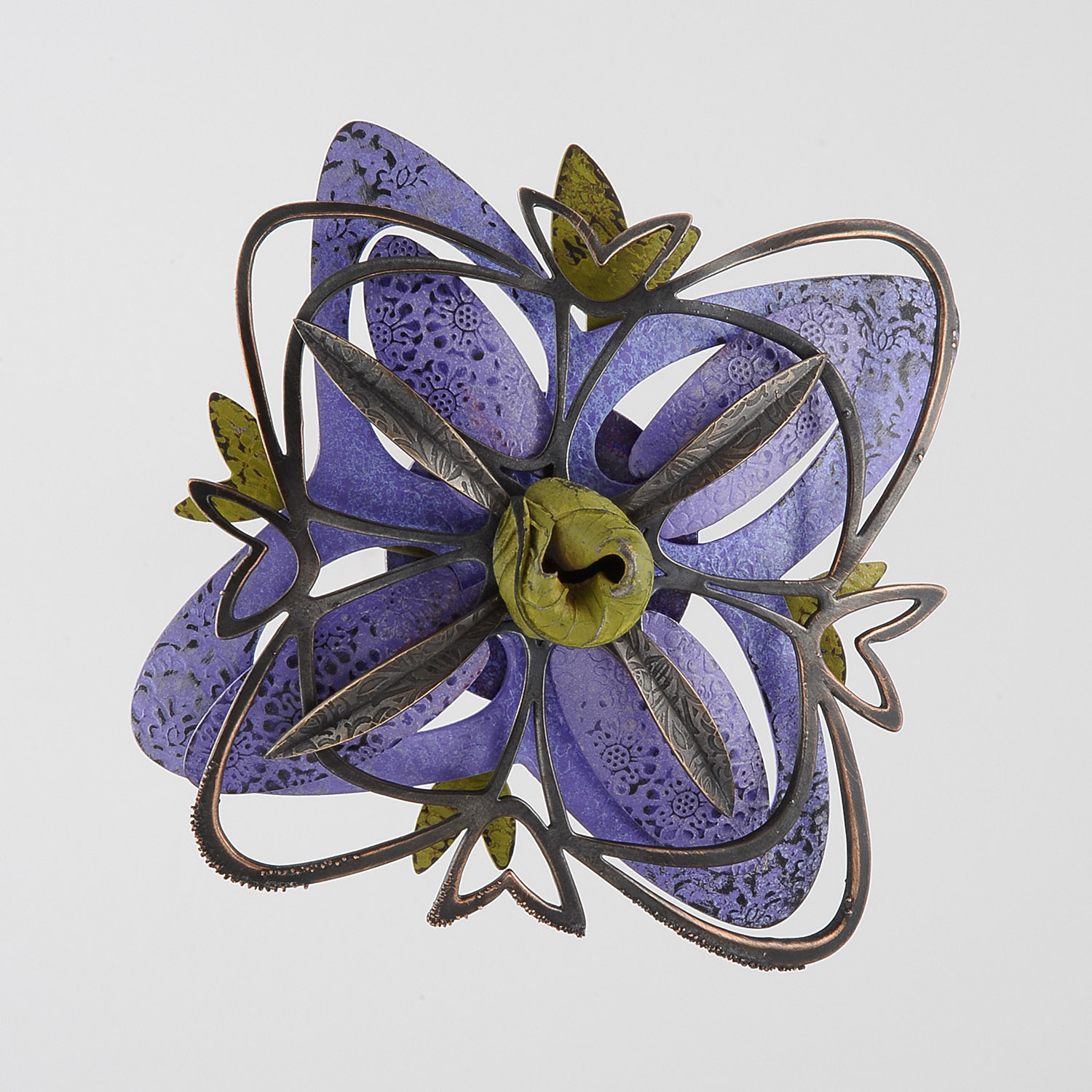 Rosette Brooch 2-15  |  2015  |  bronze, steel  |  4 x 4 x 1.5 inches